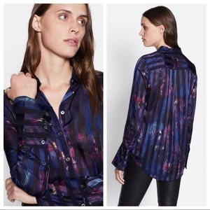 Equipment Eleonore Stripe Abstract Silk Button Up
